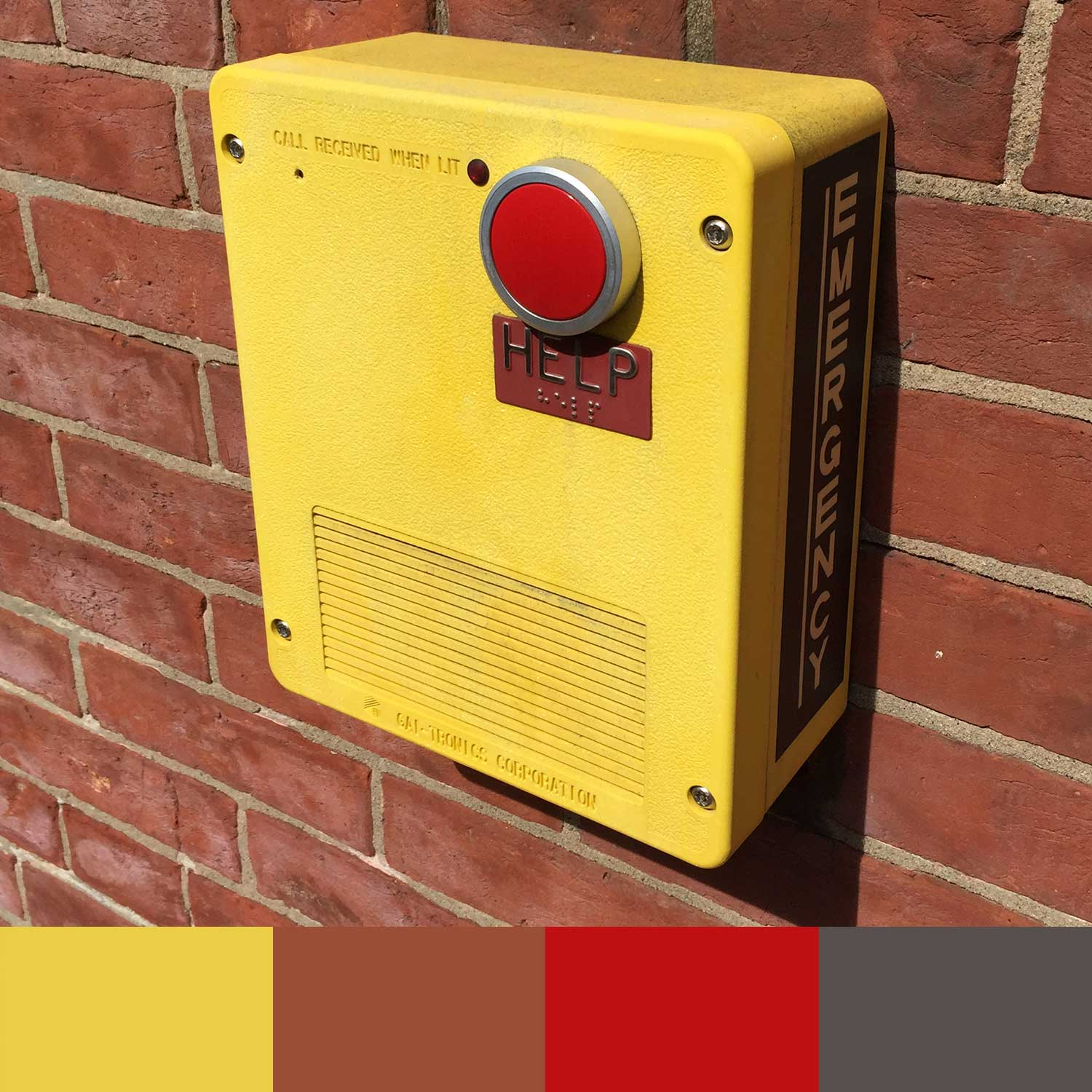 Bright yellow and red emergency box
